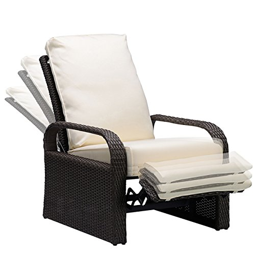 BABYLON Outdoor Recliner Wicker Patio Adjustable Recliner Chair with 5.11' Cushions and Ottoman,Rust-Resistant...