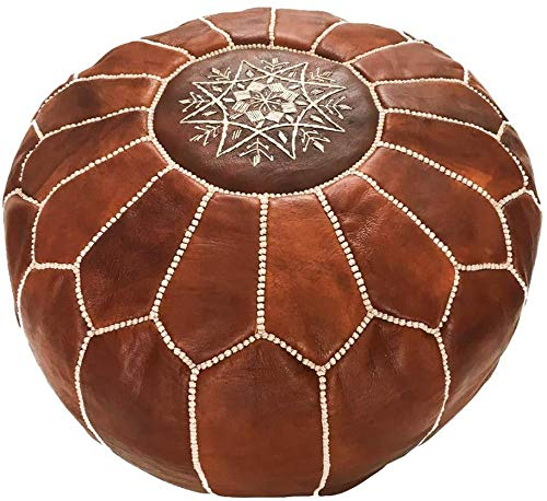 Marrakesh Gallery Moroccan Pouf Cover, Genuine Goatskin Leather - Bohemian Living Room Decor - Cover ONLY -...