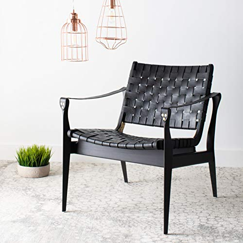 Safavieh Couture Home Dilan Black Leather Weave Safari Accent Chair