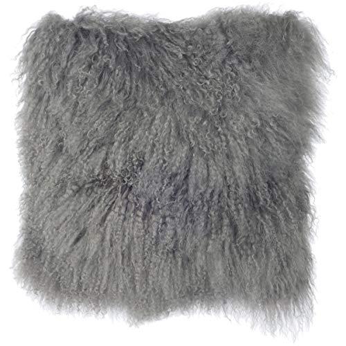 SLPR Mongolian Lamb Fur Throw Pillow Cover (16'' x 16'', Grey) | Real Sheep Fur Decorative Cushion Cover Case