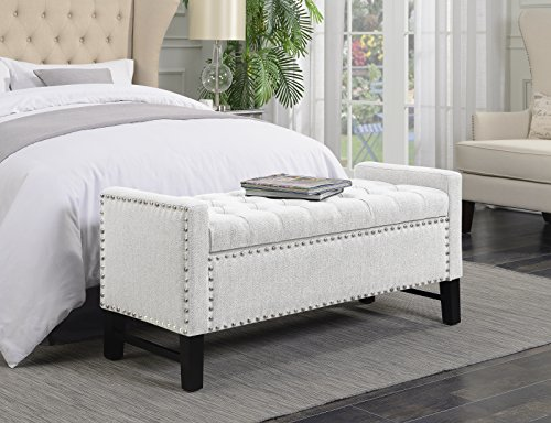 Iconic Home Lance Bench Polished Nailhead Trim Linen Tufted Storage Ottoman with Espresso Wood Legs Modern...