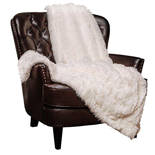 Chanasya Super Soft Fuzzy Shaggy Faux Fur Throw Blanket - Chic Design Snuggly Plush Lightweight with Fluffy...