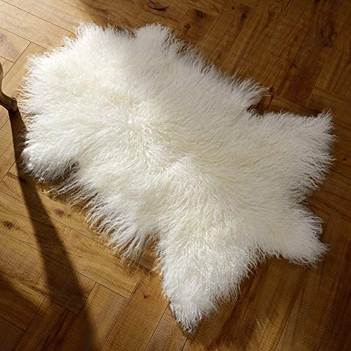 Deluxe Genuine Mongolian Fur Sheepskin Shaggy Rug One Pelt White Single,23' Size-Used as Area Rug or seat...