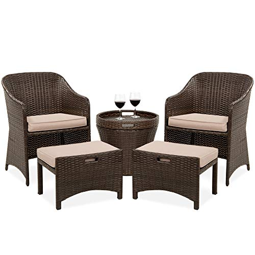 Best Choice Products 5-Piece Outdoor Wicker Bistro Set Multipurpose Furniture for Patio, Yard, and Garden w/ 2...