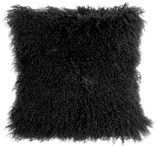 Genuine 100% Tibetan Mongolian Sheepskin Fur Throw Pillow Complete with Pillow Insert (Black, 18x18)