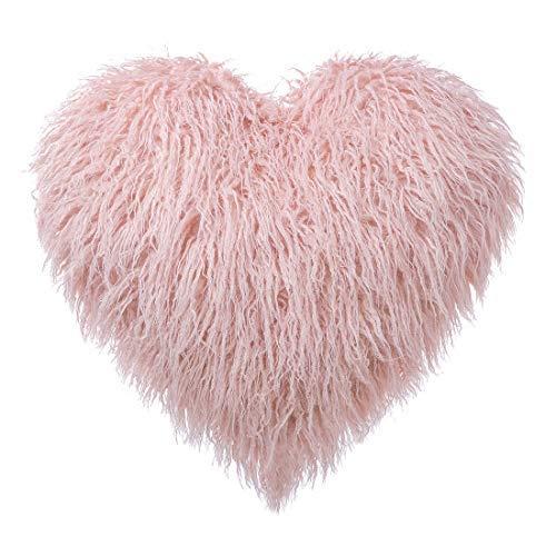 Heart Shaped Deluxe Home Decorative Super Soft Plush Mongolian Faux Fur Throw Pillow Sofa Chair Stuffed Pillow...