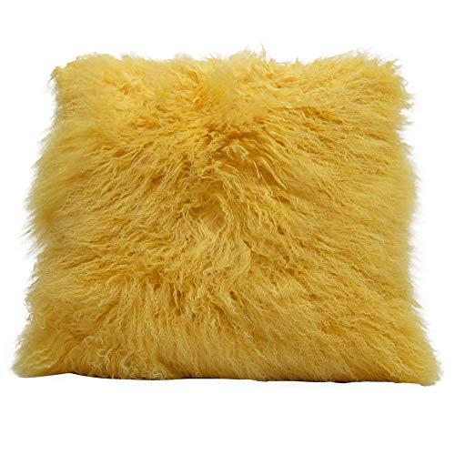 "Eclante Mongolian Lamb Fur Yellow Throw Pillow   100% Real Mongolian Lamb Fur   20"" x 20""   Polyester..."
