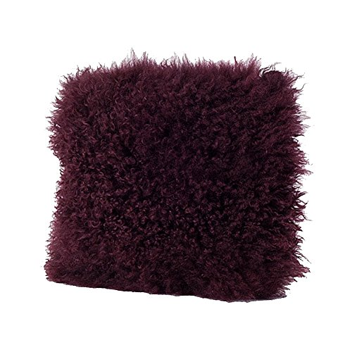 Occasion Gallery Eggplant Color Real Mongolian Lamb Fur Pillow, Filled. 20 Inch Square