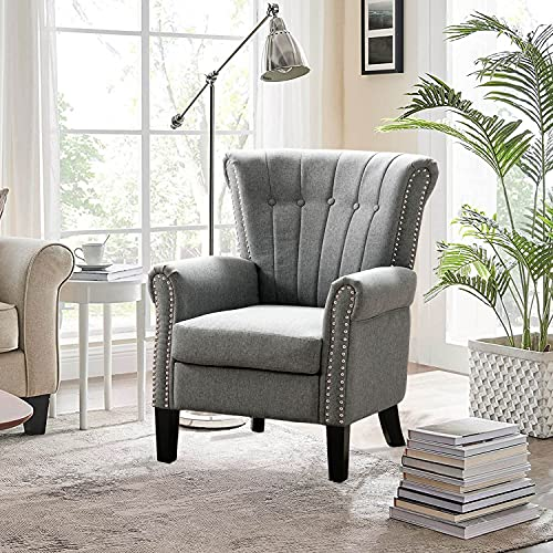 Altrobene Fabric Accent Arm Chair, Modern Club Chair for Living Room Bedroom Home Office, Channel-Tufted,...