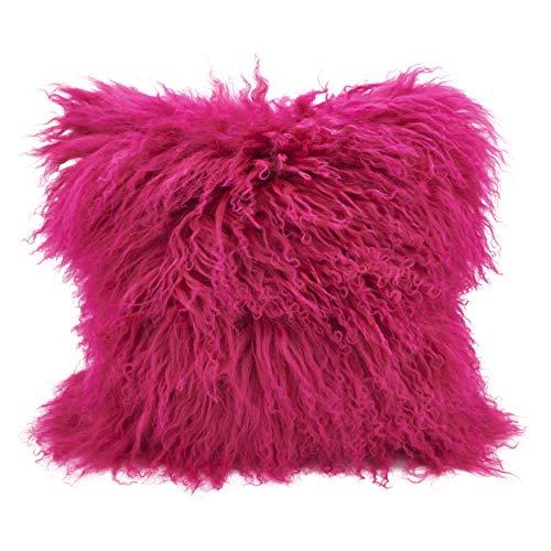 SARO LIFESTYLE 100% Wool Mongolian Lamb Fur Throw Pillow with Poly Filling, 16', Fuchsia