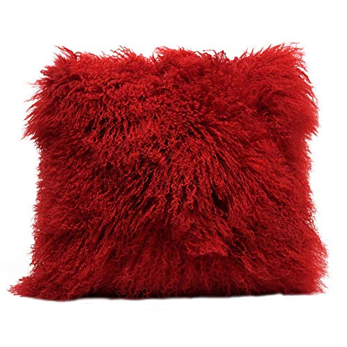 "Eclante Mongolian Lamb Fur Red Throw Pillow | 100% Real Mongolian Lamb Fur | 20"" x 20"" | Polyester Insert..."