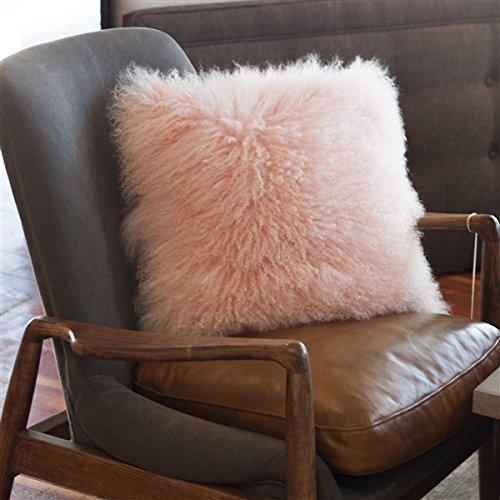 Genuine 100% Tibetan Mongolian Sheepskin Fur Throw Pillow Complete with Pillow Insert (Pastel Pink, 18x18)