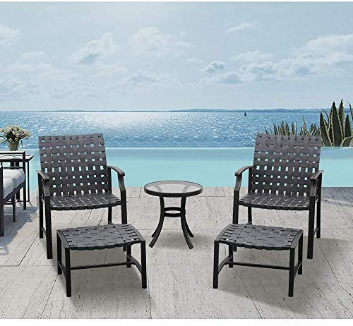 LUCKWIND Patio Lounge Chair Sofa & Ottoman - Bristo Wicker Seating Dining Outdoor Furniture Set Upgraded UV...