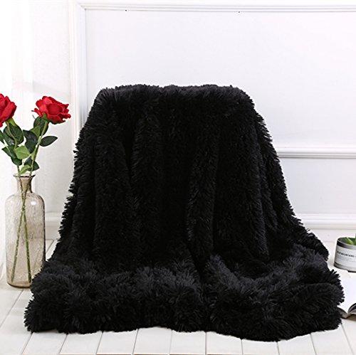 WINLIFE Super Soft Shaggy Faux Fur Long Hair Throw Blanket Cozy Elegant Decorative Blanket Black 63''x 79''