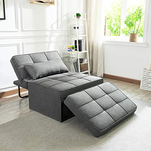 Vonanda Sofa Bed, Convertible Chair 4 in 1 Multi-Function Folding Ottoman Modern Breathable Linen Guest Bed...