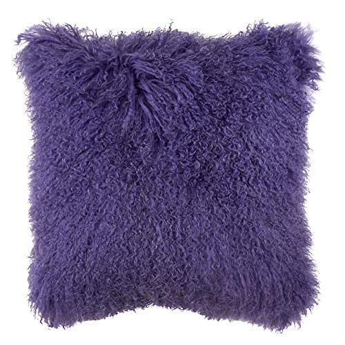 Occasion Gallery Ultra Violet Color Genuine Mongolian Real Lamb Fur Decorative Throw Pillow - Polyester...