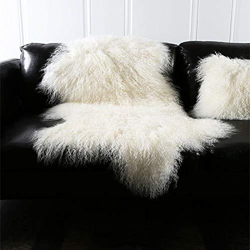Genuine Tibetan Mongolian Sheepskin Fur Rug Hide Pelt Throw Rug Lamb Wool Carpet Curly Fur Used for Area Rug...