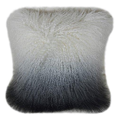 Lichao Ombre Mongolian Lamb Fur Pillow Cover Luxurious Sheep Skin Cushion Cover Soft Plush Curly Pillow Case...