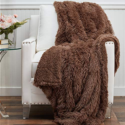 The Connecticut Home Company Soft Shag with Sherpa Bed Throw Blanket, Many Colors, Fluffy Large Luxury...
