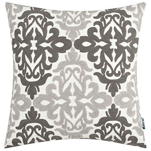 HWY 50 Decorative Throw Pillows Covers Dark Grey and Light Gray Embroidered Square Pillows Covers Cushion...