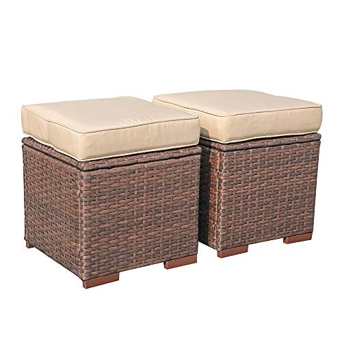 Super Patio Outdoor Ottoman, 2 Piece All Weather Wicker Rattan Patio Ottoman Set with Cushion, Steel Frame,...