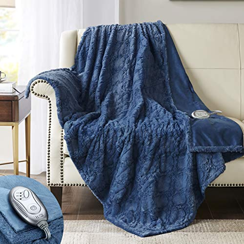 Hyde Lane Faux Fur Electric Throw   Premium Blue 50x60 Soft Electric Blanket   Fuzzy, Pilling Resistant...