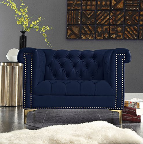 Iconic Home Winston Tufted Gold Trim Navy Blue PU Leather Club Chair with Gold Tone Metal Y-Legs
