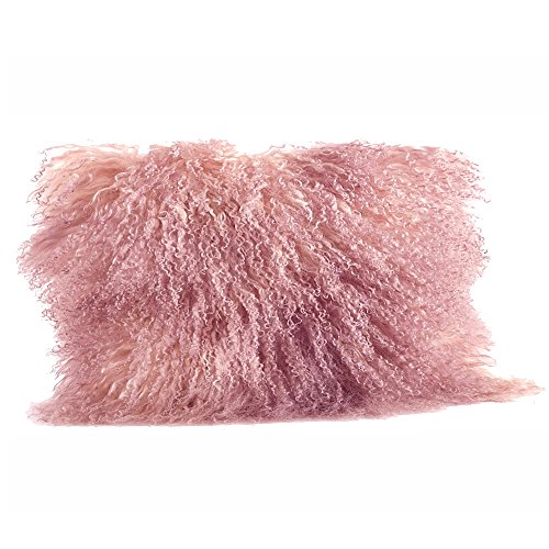 Occasion Gallery Rose Pink Color Real Mongolian Lamb Fur Pillow, Filled. 12 Inch X 20 Inch Oblong
