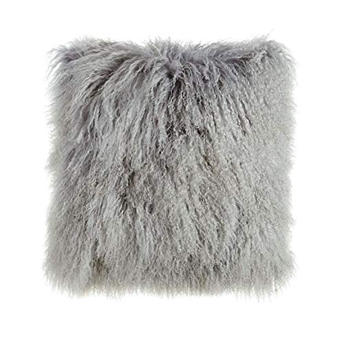 Christian Voltaire Luxury Mongolian 100% Natural Fur Cushion Cover Handmade by French Craftsman (Grey, 20 ''x...