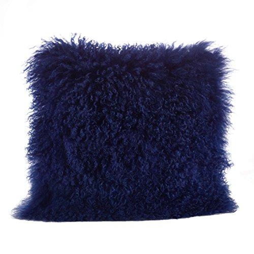 SARO LIFESTYLE 100% Wool Mongolian Lamb Fur Throw Pillow with Poly Filling, 20', Cobalt Blue
