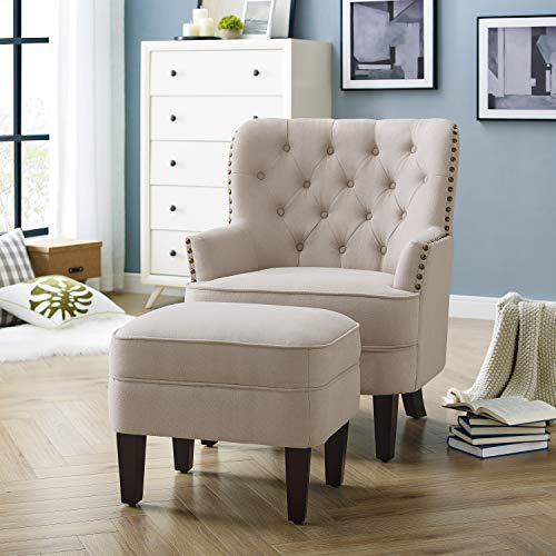 Rosevera Duilio Collection Fabric Nailhead Club, Contemporary Accent Chairs, Ivory with Ottoman