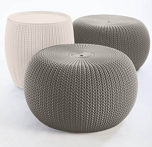 Keter Urban Knit Pouf Ottoman Set of 2 with Storage Table for Patio and Room Décor-Perfect for Balcony, Deck,...