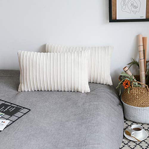 UGASA Velvet Lumbar Throw Pillow Cover, Both Sides Corduroy Striped, Soft Solid Decorative Rectangular Cushion...