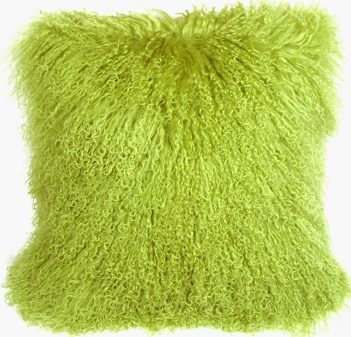Genuine 100% Tibetan Mongolian Sheepskin Fur Throw Pillow Complete with Pillow Insert (Lime Green, 18x18)