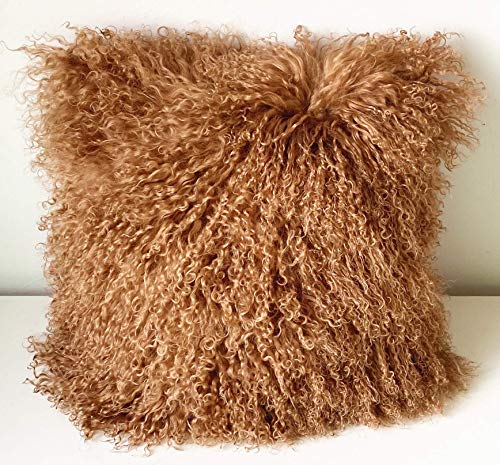 KumiQ 100% Real Mongolian Lamb Fur Curly Wool Pillow Cushion,Home Decorative Sheepskin Throw Pillow with...