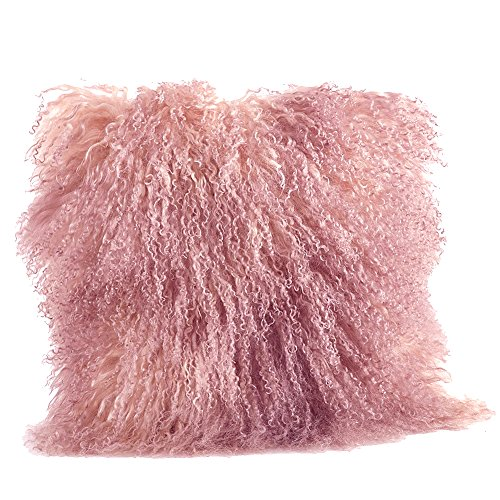 Occasion Gallery Rose Pink Color Real Mongolian Lamb Fur Pillow, Filled. 20 Inch Square