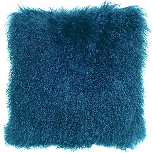 Genuine 100% Tibetan Mongolian Sheepskin Fur Throw Pillow Complete with Pillow Insert (Teal, 18x18)