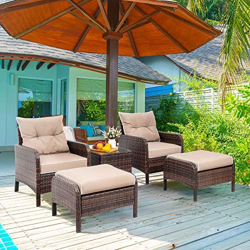 Vongrasig 5 Piece Wicker Patio Furniture Set, PE Wicker Rattan Small Patio Set Porch Furniture, Cushioned...