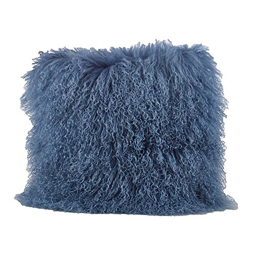 Occasion Gallery Blue Grey Color Real Mongolian Lamb Fur Pillow, Filled. 20 Inch Square