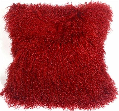 Genuine 100% Tibetan Mongolian Sheepskin Fur Throw Pillow Complete with Pillow Insert (Red, 18x18)
