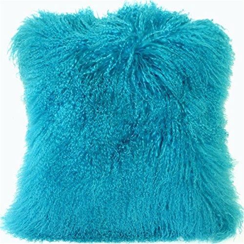 Genuine 100% Tibetan Mongolian Sheepskin Fur Throw Pillow Complete with Pillow Insert (Turquoise Blue, 18x18)