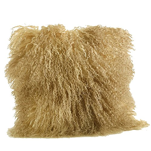 Occasion Gallery Gold Tone Color Real Mongolian Lamb Fur Pillow, Filled. 20 Inch Square