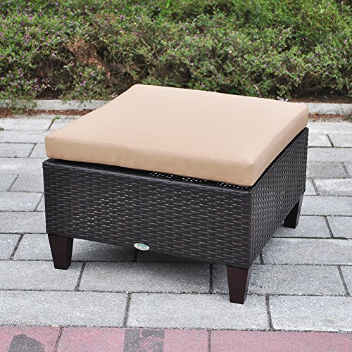 Outdoor Ottoman, Aluminum Outdoor Patio Wicker Ottoman Seat with Cushion, All Weather Resistant Foot Rest...
