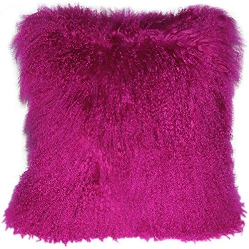 Genuine 100% Tibetan Mongolian Sheepskin Fur Throw Pillow Complete with Pillow Insert (Hot Magenta Pink,...