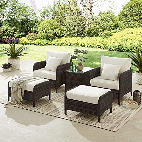 Tribesigns 5 Pieces Patio Chairs with Ottoman, Outdoor Furniture Set Wicker Sofa Rattan Couch Conversation...