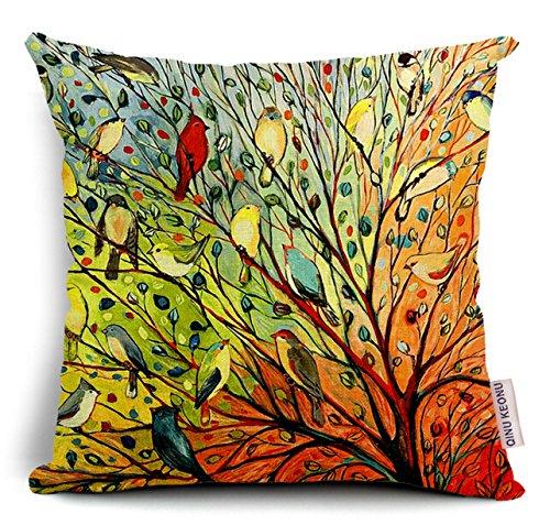 QINU KEONU Oil Painting Hundreds of Birds Cotton Linen Throw Pillow Case Cushion Cover Home Sofa Decorative 18...