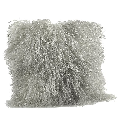 Occasion Gallery Fog Grey Color Real Mongolian Lamb Fur Pillow, Filled. 16 Inch Square