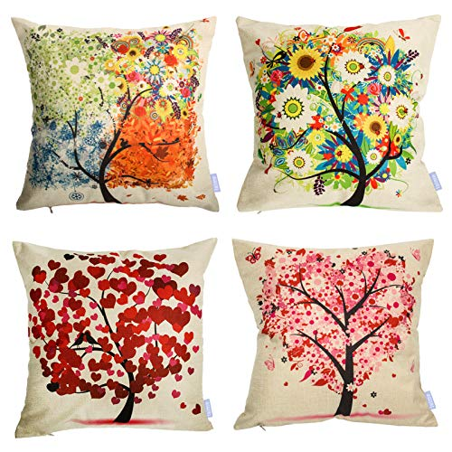 laime Throw Pillow Covers 18x18 inch Set of 4 Pillow Cases Natural Pattern Decorative Pillowcases Home Car...
