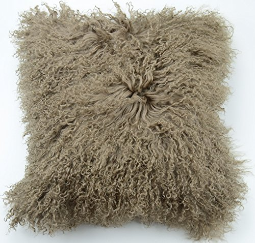 100% Real Tibetan Mongolian Lamb Fur Pillow Cover - 18' x 18' (Khaki)