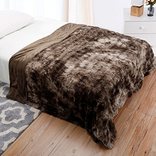 LANGRIA Luxury Super Soft Faux Fur Fleece Throw Blanket Cozy Warm Breathable Lightweight and Machine Washable...